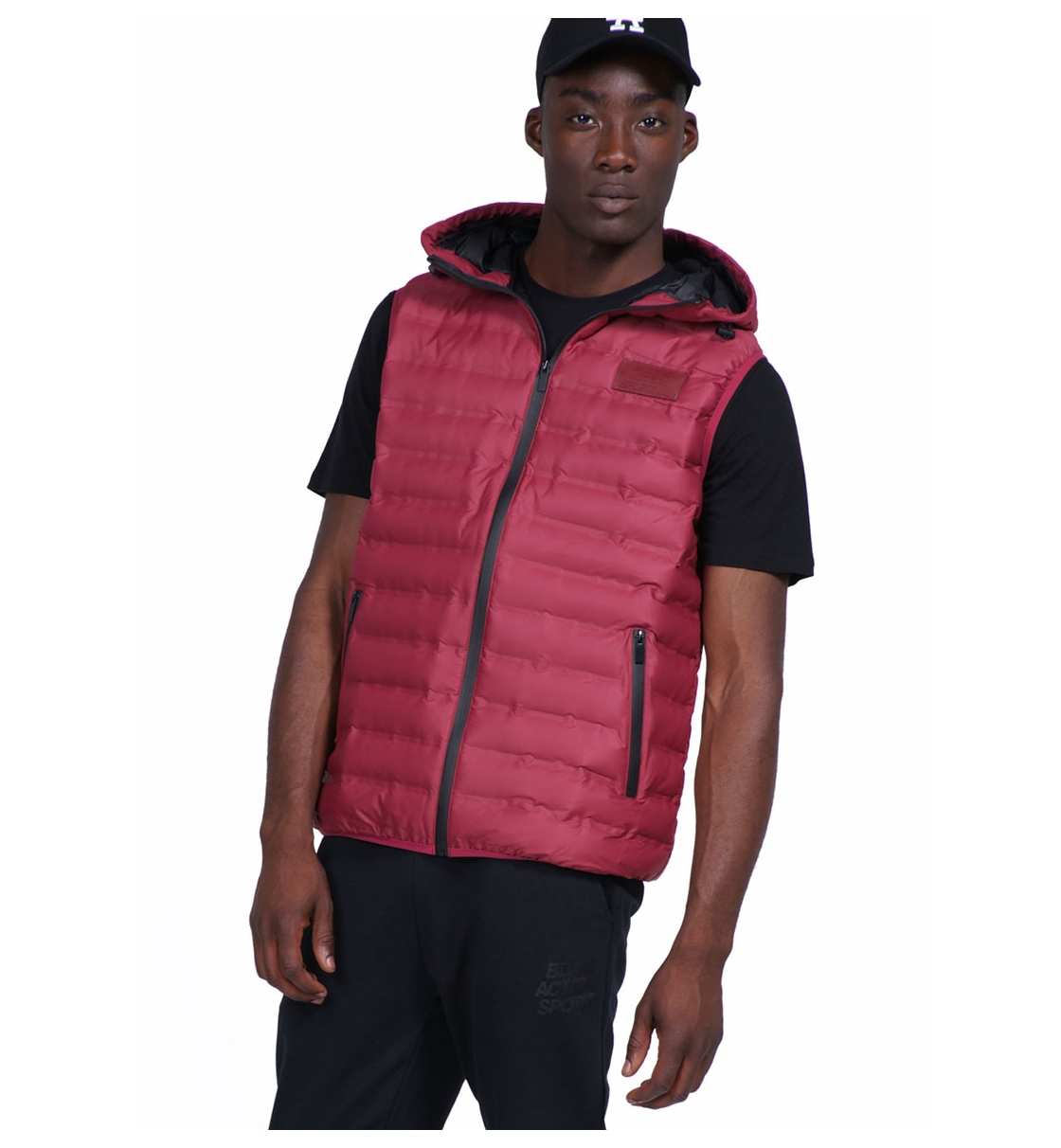 Body Action Fw19 Men Zip-Through Quilted Vest With Hood