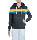 Body Talk Fw14 Rainbow Hood Zip Sweater Ls