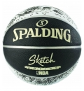 Spalding Fw19 Sketch Series Black/White Rubber Basketball