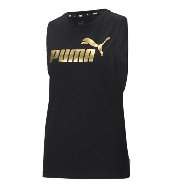 Puma Γυναικεία Αμάνικη Μπλούζα Ss21 Ess+ Cut Off Metallic Logo Tan 586889