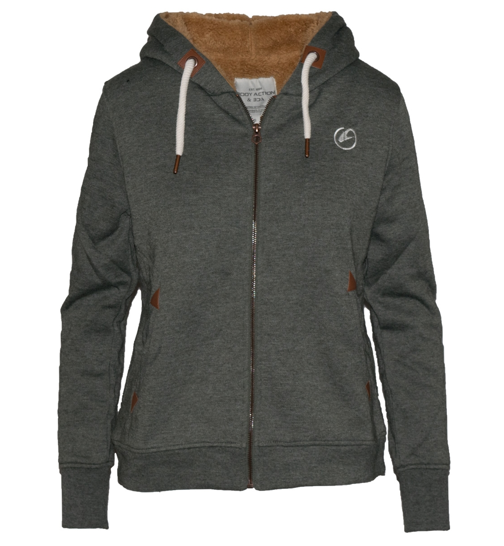 Body Action Γυναικεία Ζακέτα Με Κουκούλα Women Fur Lined Sweat Jacket 071726
