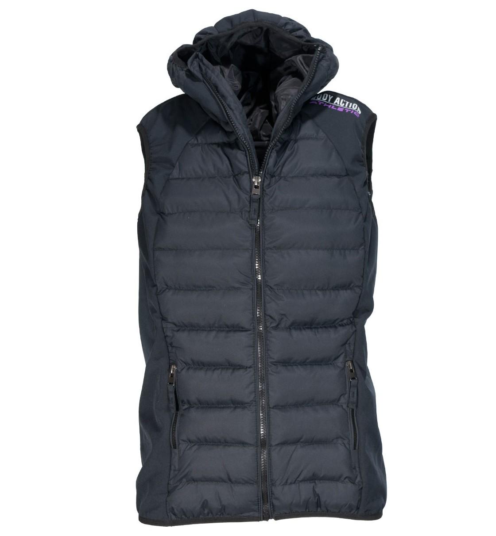 Body Action Women Slim Fit Zip Up Hooded Vest