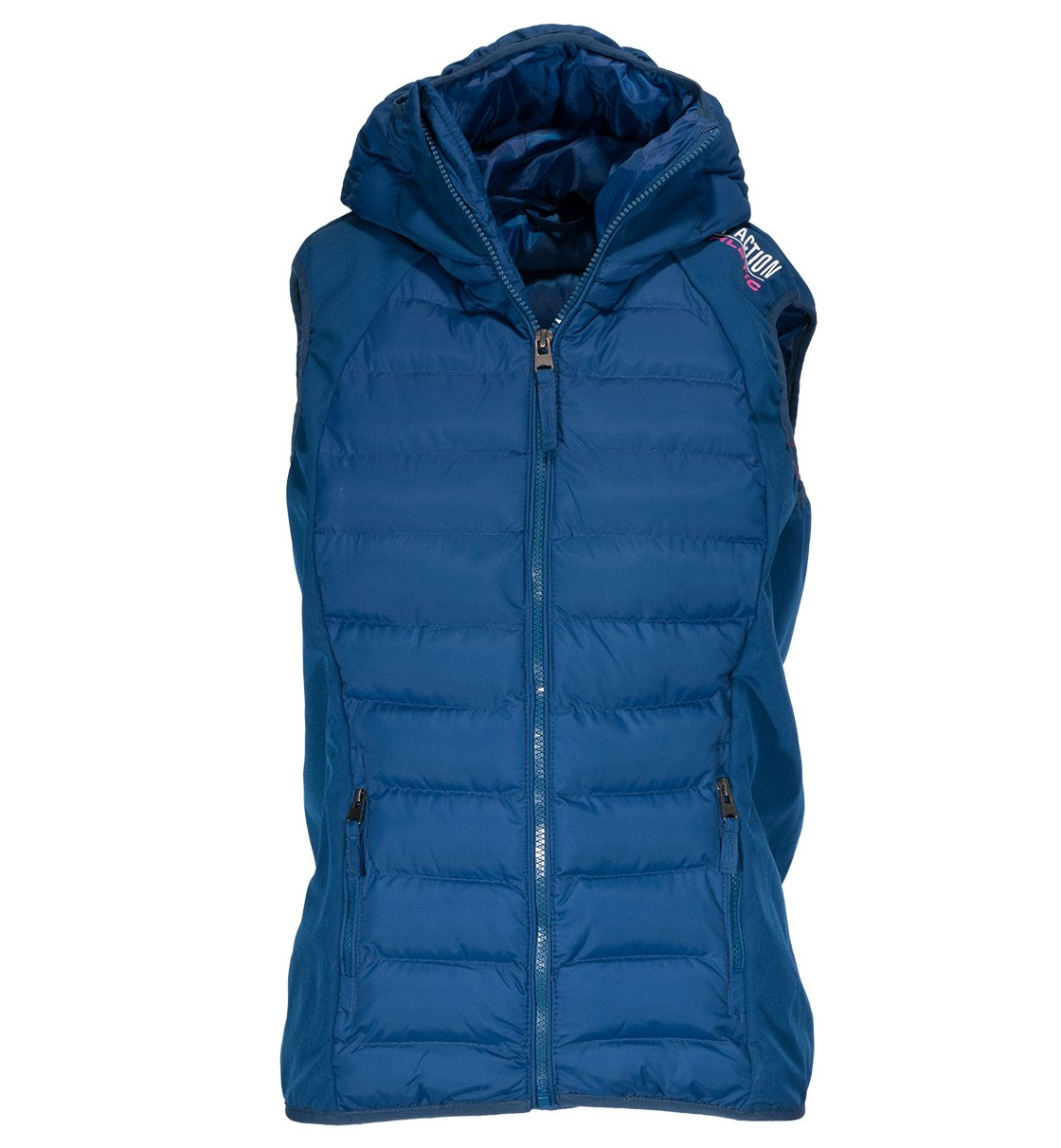 Body Action Women Slim Fit Zip Up Hooded Vest