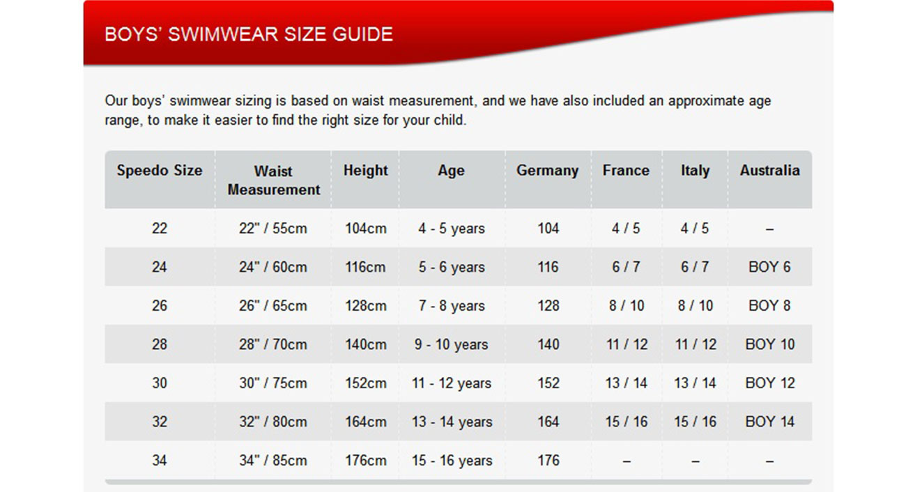 body action boy size guide